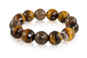 KenSuJewelry Bracelet with Tiger Eye and Smokey Quartz Beads and Silver Spacers