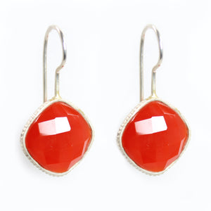Carnelian and Silver Frame Earrings - Signature Collection