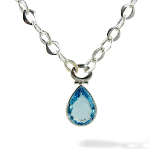Chain Pendant Necklace with Blue Topaz Front View