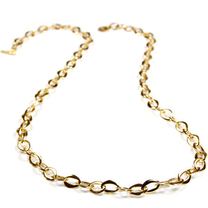 Necklace - Handmade Gold Plated Sterling Silver Link Chain 23.5""