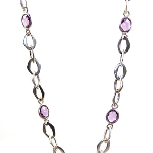 Chain Necklace with Amethyst Stones in Sterling Silver