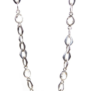 Chain Necklace with Crystal Quartz Stones in Sterling Silver