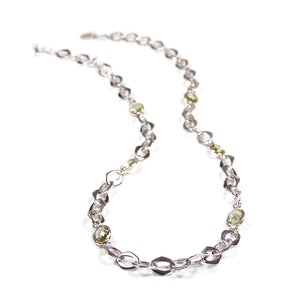 Chain Necklace with Lemon Quartz Stones in Sterling Silver