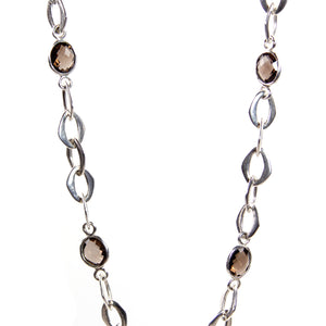 Chain Necklace with Smokey Quartz Stones in Sterling Silver