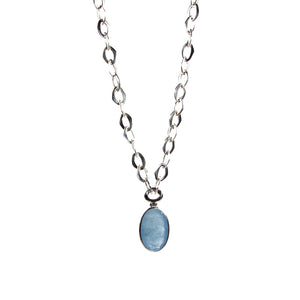 Aquamarine Pendant with Stering Silver Chain Necklace