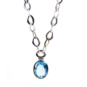 Swiss Blue Topaz Pendant with 14 carat Gold & Sterling Silver Chain Necklace