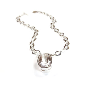 Crystal Quartz Pendant with Sterling Silver Chain Necklace