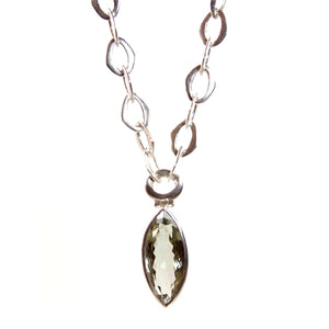 Green Amethyst Pendant with Sterling Silver Chain Necklace