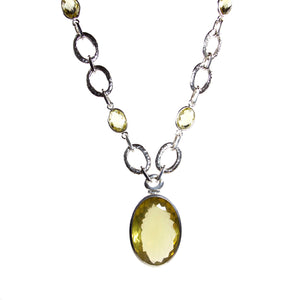 Hammered Oval Link Chain Necklace with Lemon Quartz Stones and Pendant