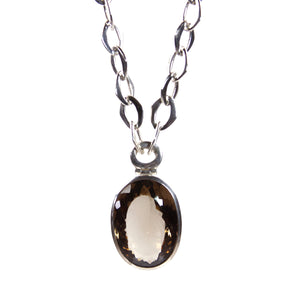 Smokey Quartz Pendant with Sterling Silver Chain Necklace