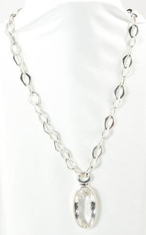 Crystal Quartz Oval Pendant & Silver Chain - Bold Collection