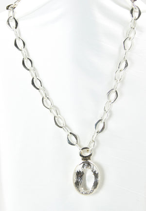 Crystal Quartz Oval Pendant & Sterling Silver Chain - Bold Collection