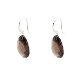 KenSu Jewelry Drop Earrings - with Smokey Quartz Signature Collection Hand Made Jewelry