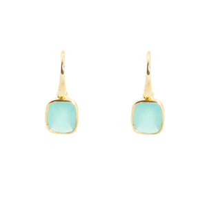 KenSu Jewelry Dangle Earrings - with Chalcedony and Gold Plated Signature Collection Hand Made Jewelry