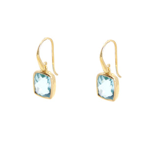 KenSu Jewelry Dangle Earrings - with H. Blue Topaz and Gold Plated Signature Collection Hand Made Jewelry