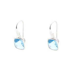 KenSu Jewelry Dangle Earrings - with H.Blue Topaz Signature Collection Hand Made Jewelry