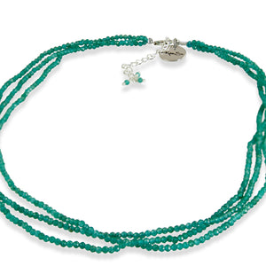 3 Line Green Aventurine Bead Necklace