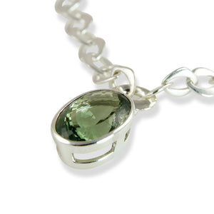 Chain Pendant Necklace with Green Amethyst