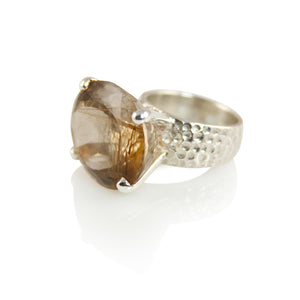 KenSuJewelry Hammered Prong Ring Dark Golden Rutile Round