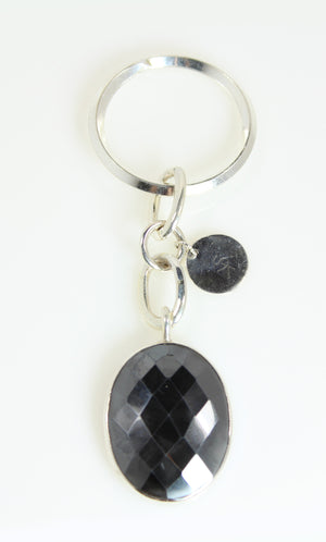 Hematite Oval Silver Keychain - One of A  Kind Collection