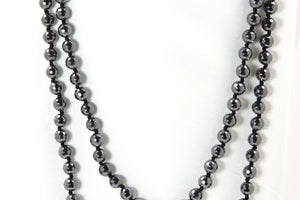 "Hematite 56"" Beaded Necklace"