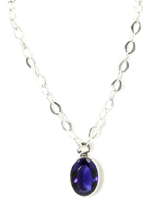 Iolite Hydro Oval Pendant & Silver Chain - Bold Collection