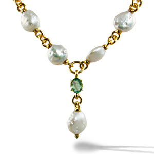 Baroque Pearls with Flourite Stone Sterling Silver Micro Gold Plated Necklace