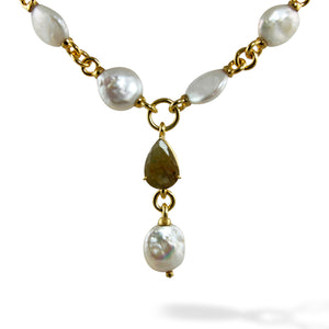 Baroque Pearls with Labradorite Stone Sterling Silver Micro Gold Plated Necklace