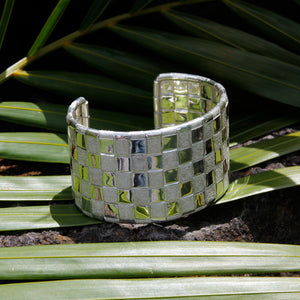 Bracelet - Cuff Sterling Silver Woven 5 Line Lauhala Collection