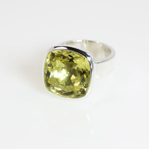 Lemon Quartz Sqaure Bowl Ring - Bold Collection