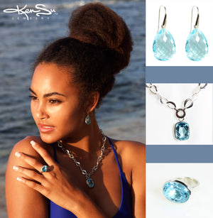 KenSu Jewelry Drop Earrings - with Blue Topaz Signature Collection Hand Made Jewelry