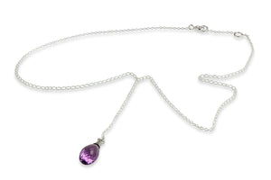 Mini Chain Necklace with Amethyst Charm