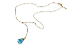 Gold Filled Necklace with Blue Topaz Pendant