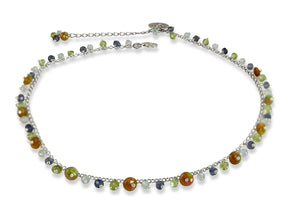 Mini Chain Necklace with Multi Colour Tourmaline & Opal Charm in Silver