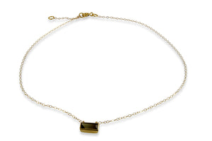 Gold Filled Chain Necklace with 9ct. Gold Frame Black Tourmaline