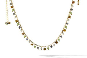 Aquamarine,Opal,Peridot,Iolite Mini Chain Choker Sterling Silver Micro Gold Plated Necklace