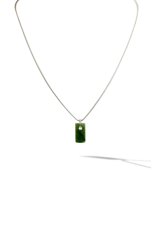 KenSuJewelry Necklace 925 Sterling Silver with NZ Green Jade