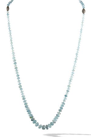 KenSuJewelry Necklace Aquamarine Handcut Disk Beads with Diamond Spacers