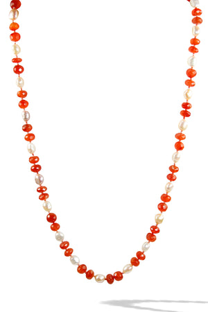 KenSuJewelry Necklace Carnelian Handcut Disk Beads and Fresh Water Pearls
