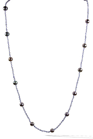 KenSuJewelry Necklace Iolite Handcut Disk Beads with Black Pearls