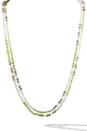 KenSuJewelry Necklace Labradorite, Rainbow Moonstone, Peridot Handcut Disk Beads and Fresh Water Pearls