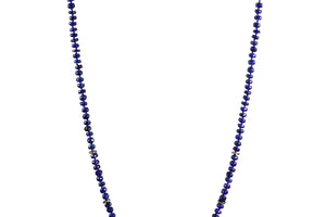 KenSuJewelry Necklace Lapis Lazuli Handcut Disk Beads with Diamond Spacers
