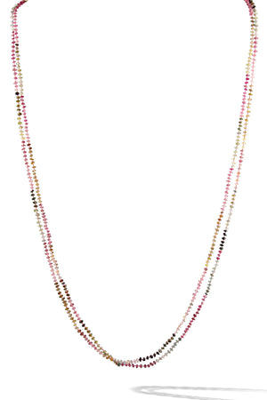 KenSuJewelry Necklace Watermelon Tourmaline Hand cut Disk Beads with Diamond Spacers