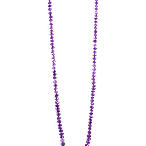 Necklace - Beaded Amethyst Stones 34""