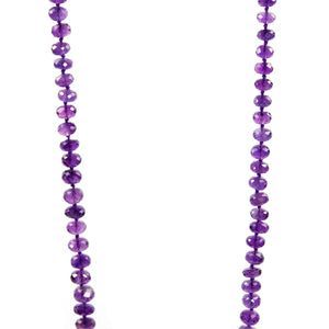 Amethyst Variant Size Hand Cut Disk Stones Necklace