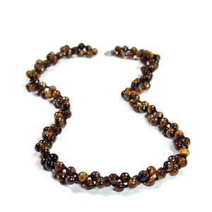 "Necklace - Beaded Tiger Eye 56"" Maroon"