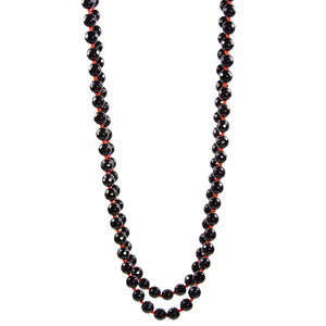 "Necklace - Beaded Black Onyx 56"" Red"