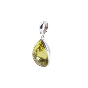 Lemon Quartz Clip On Pendant Sterling Silver