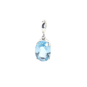Swiss Blue Topaz Clip On Pendant Sterling Silver