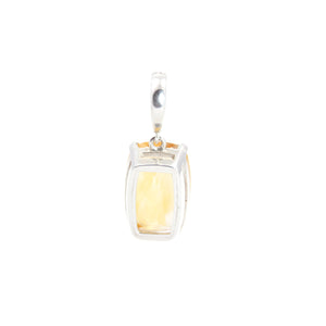 Citrine Clip On Pendant Sterling Silver